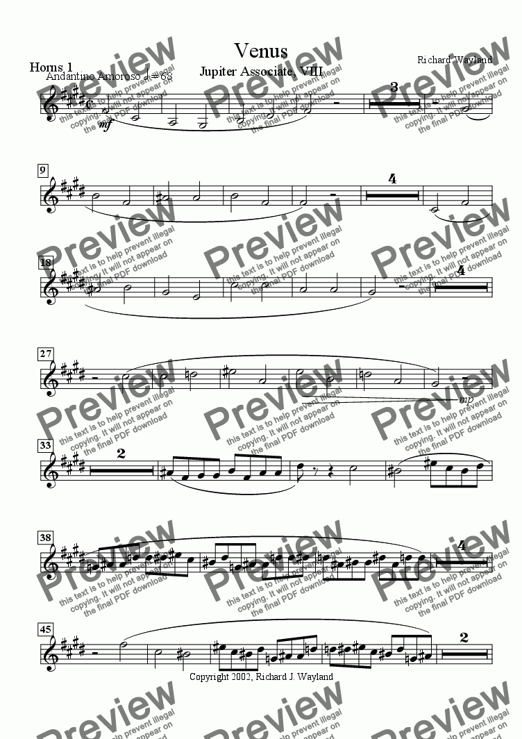 page one of the Horn 1 part from Venus