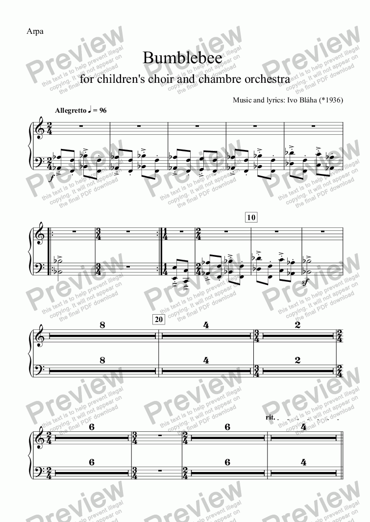 page one of the Arpa part from BUMBLEBEE (Medák) for children's choir and orchestra (English words)