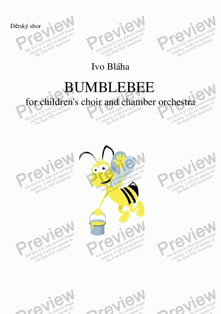 page one of the Coro part from BUMBLEBEE (Medák) for children's choir and orchestra (English words)