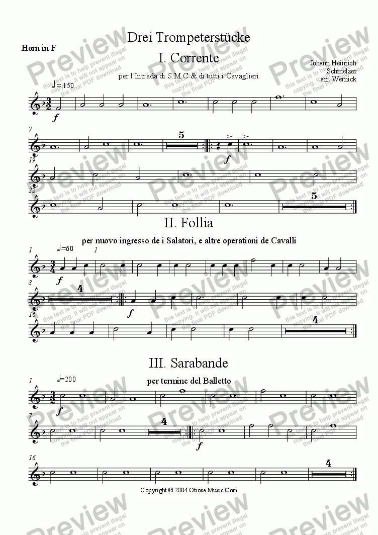 page one of the Horn in F part from Three Pieces