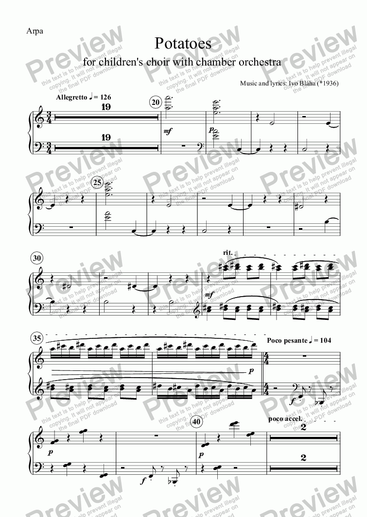 page one of the Arpa part from POTATOES (Brambory) for children's choir and chamber orchestra (English words)