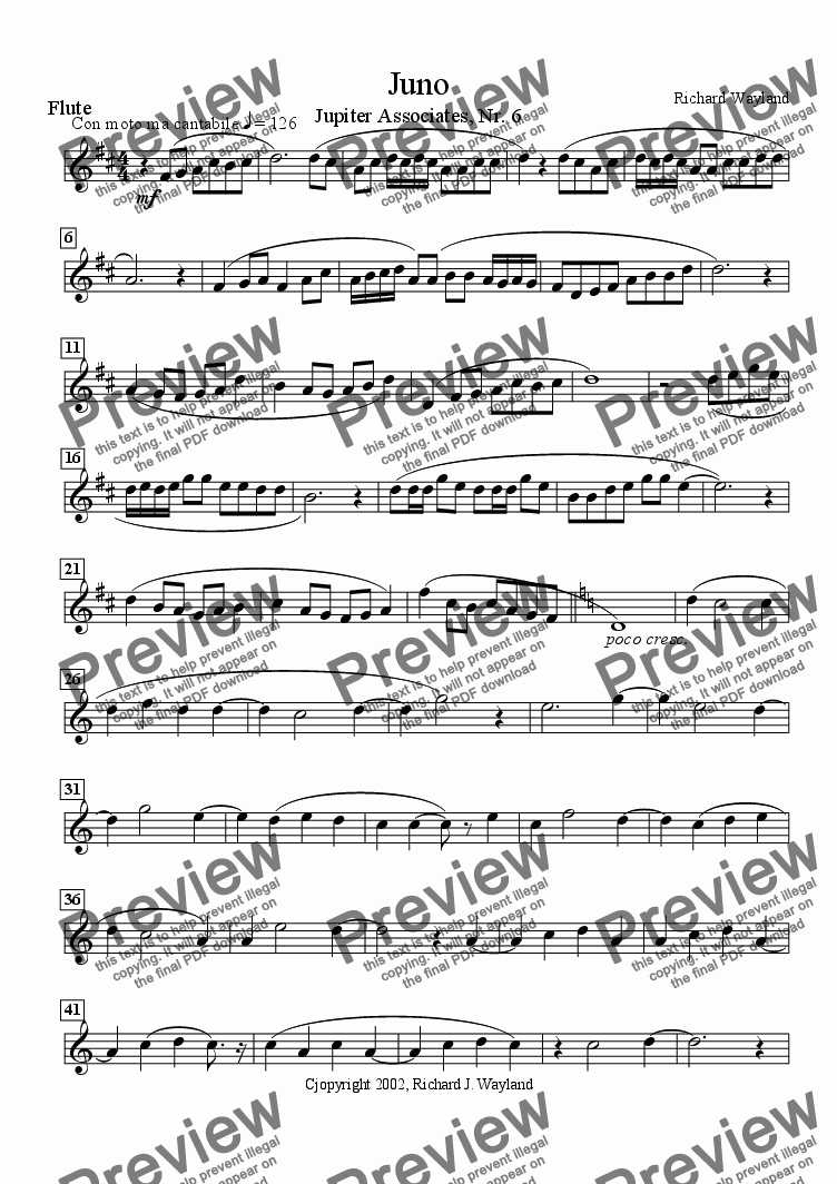 page one of the Flute part from Juno