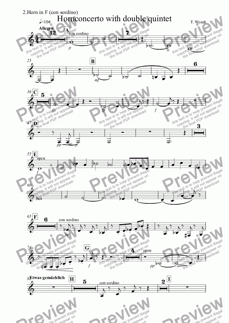 page one of the 2.Horn in F (con sordino) part from 2. Hornconcerto with double quintet
