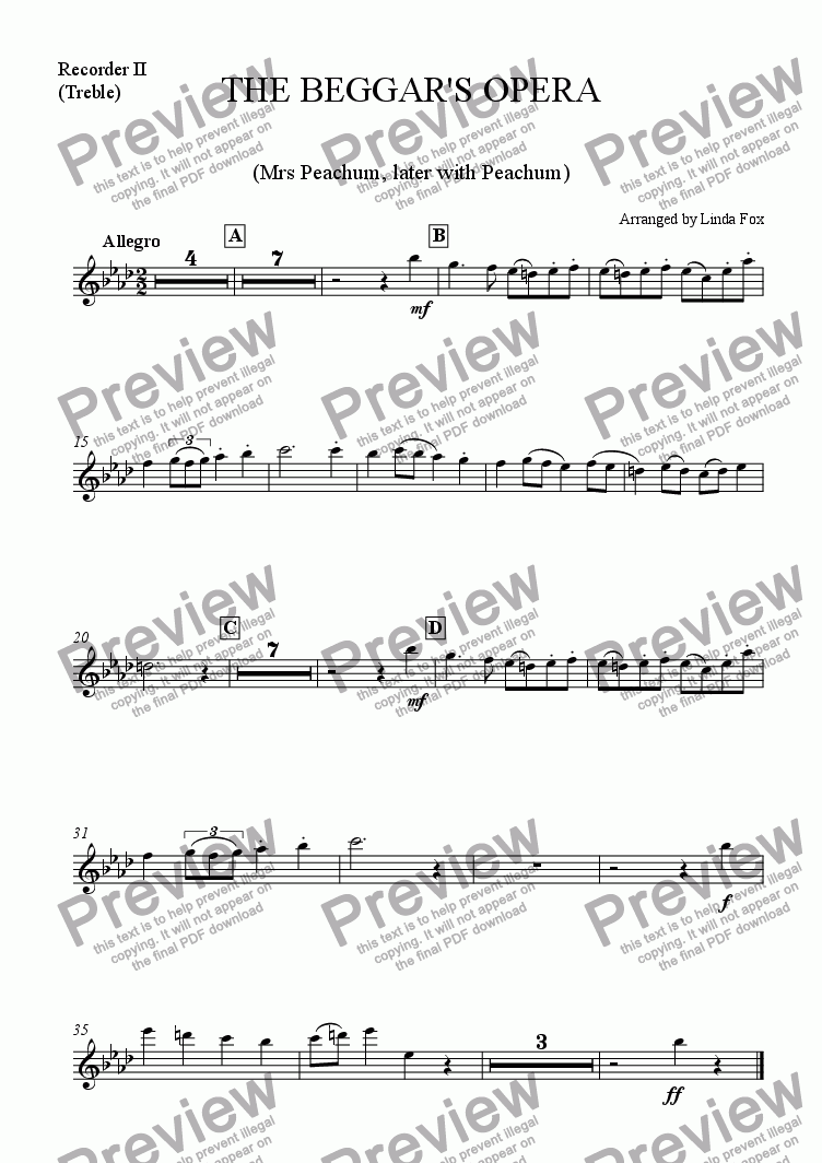 page one of the Treble Recorder part from The Beggar's Opera: 6. Our Polly is a Sad Slut