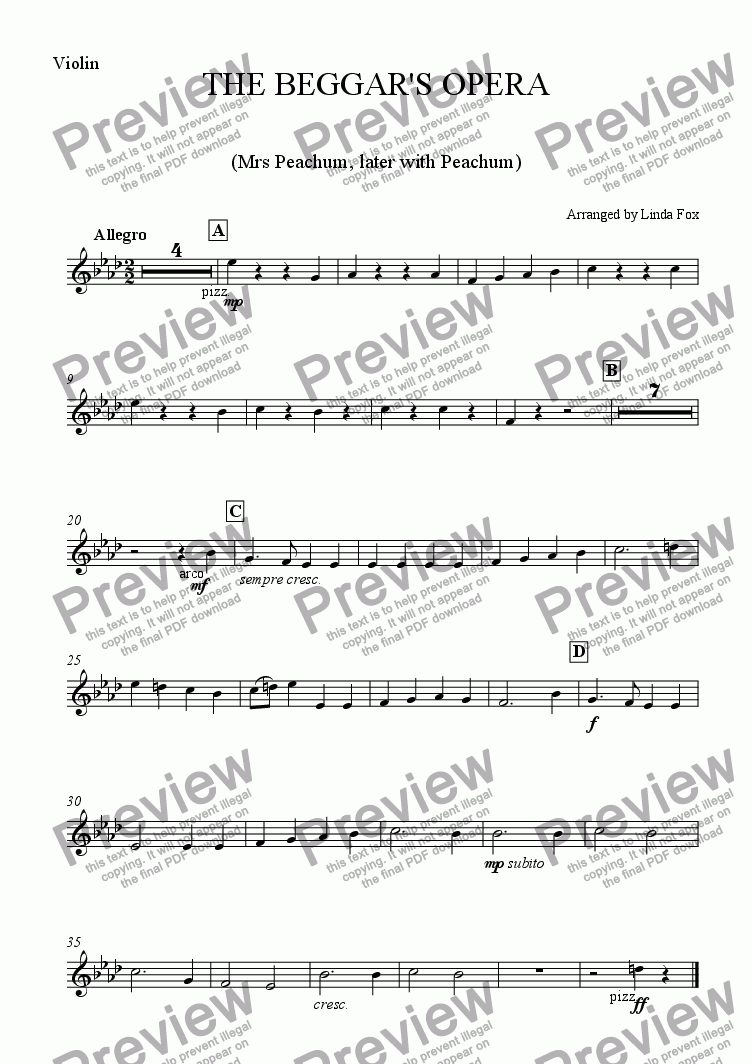 page one of the Violin part from The Beggar's Opera: 6. Our Polly is a Sad Slut