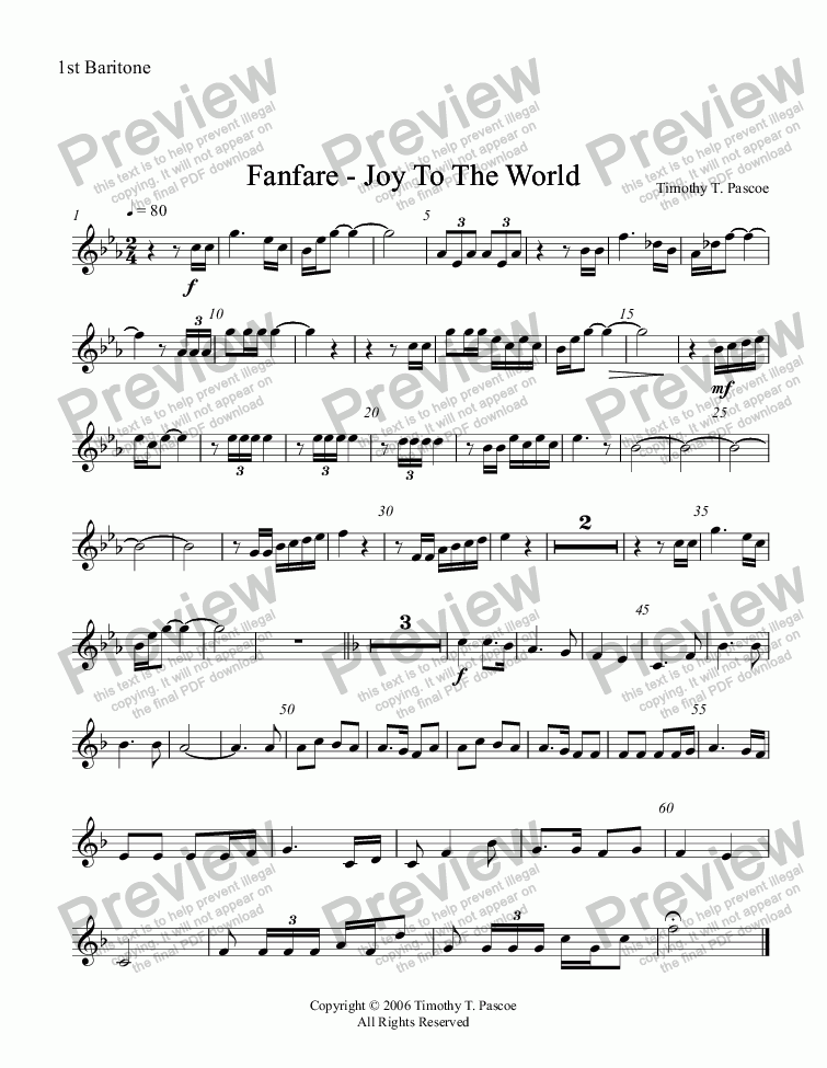 page one of the 1st Baritone part from Fanfare - Joy to the World (Full Brass Band )