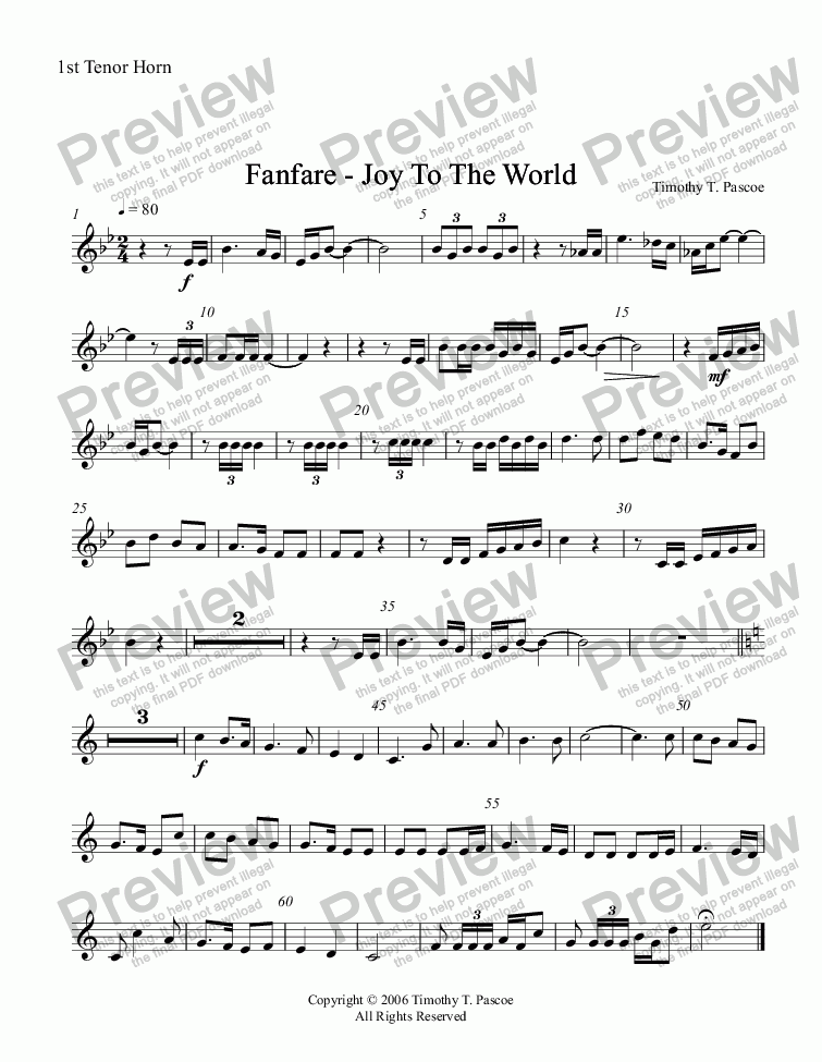 page one of the 1st Tenor Horn part from Fanfare - Joy to the World (Full Brass Band )