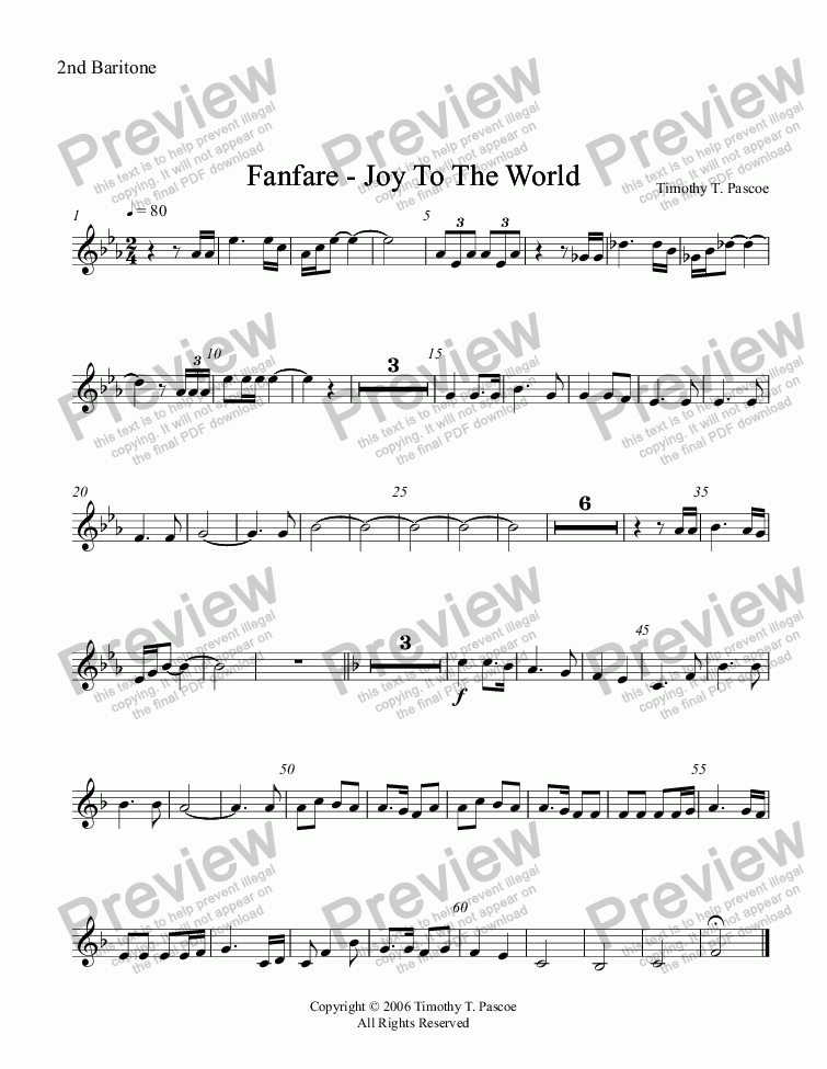 page one of the 2nd Baritone part from Fanfare - Joy to the World (Full Brass Band )