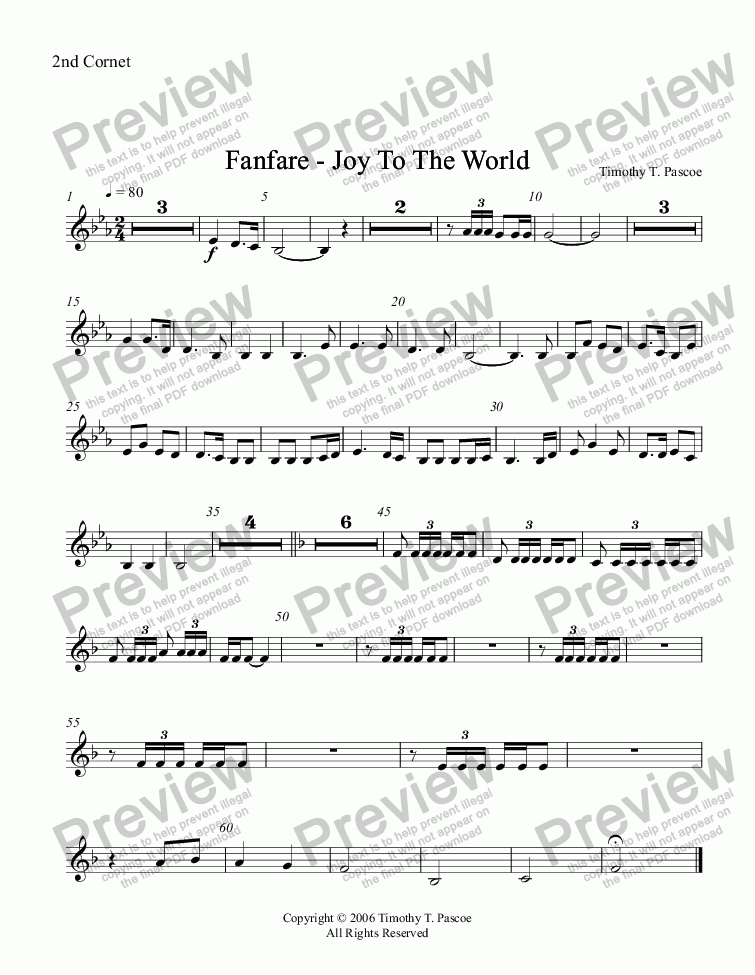 page one of the 2nd Cornet part from Fanfare - Joy to the World (Full Brass Band )