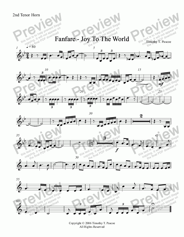 page one of the 2nd Tenor Horn part from Fanfare - Joy to the World (Full Brass Band )