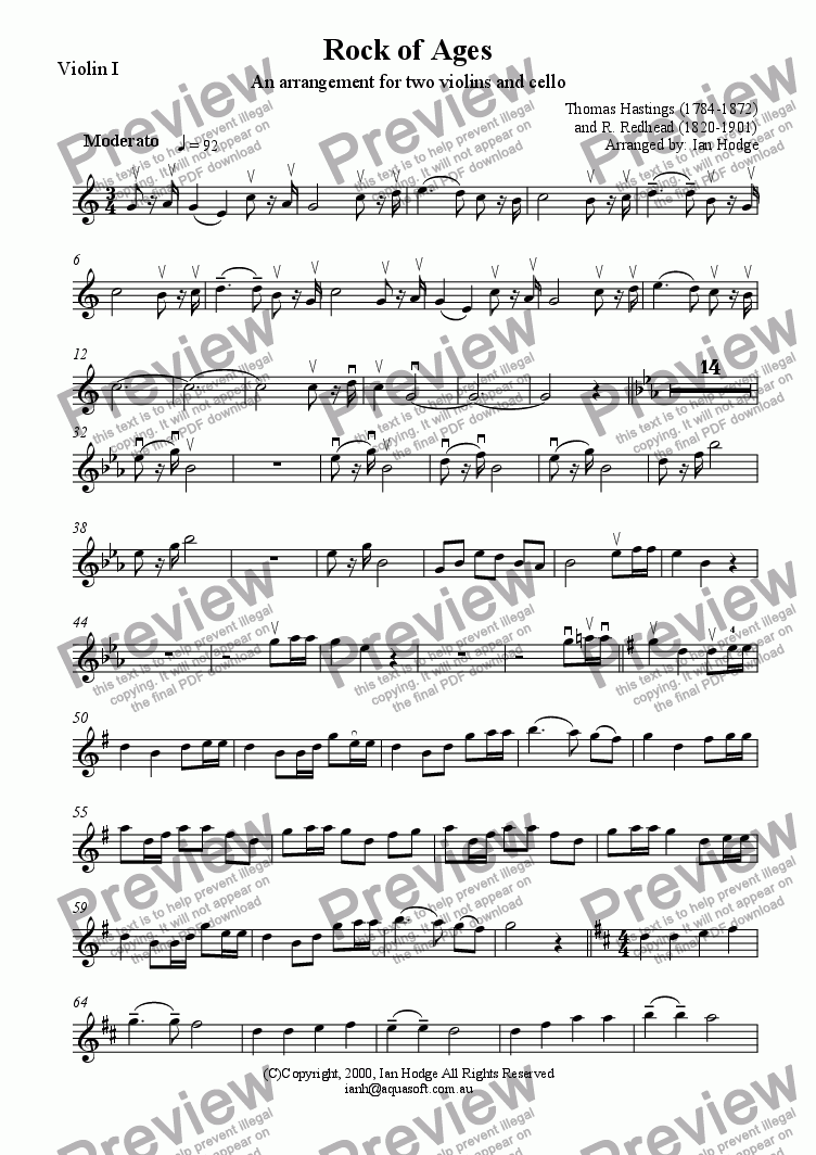 page one of the Violin I part from Rock of Ages