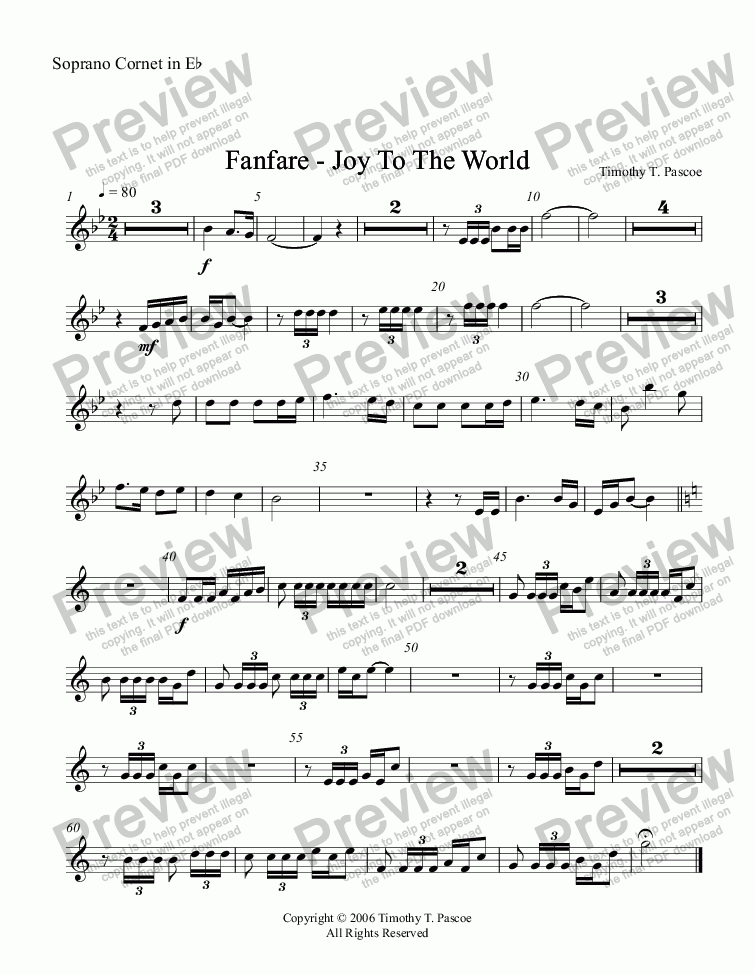 page one of the Soprano Cornet in Eb part from Fanfare - Joy to the World (Full Brass Band )