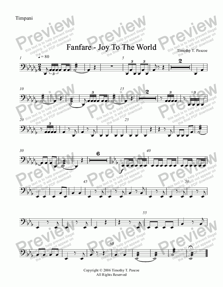 page one of the Timpani part from Fanfare - Joy to the World (Full Brass Band )