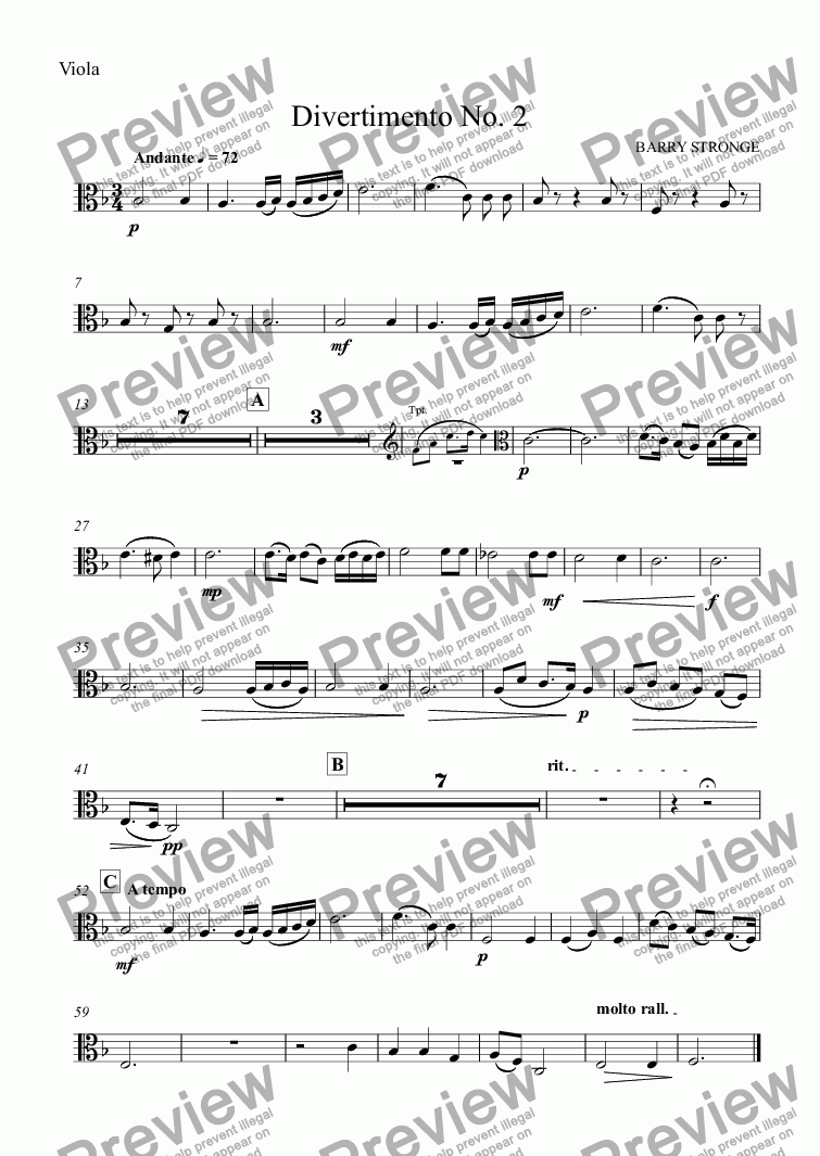 page one of the Viola part from Divertimento No. 2