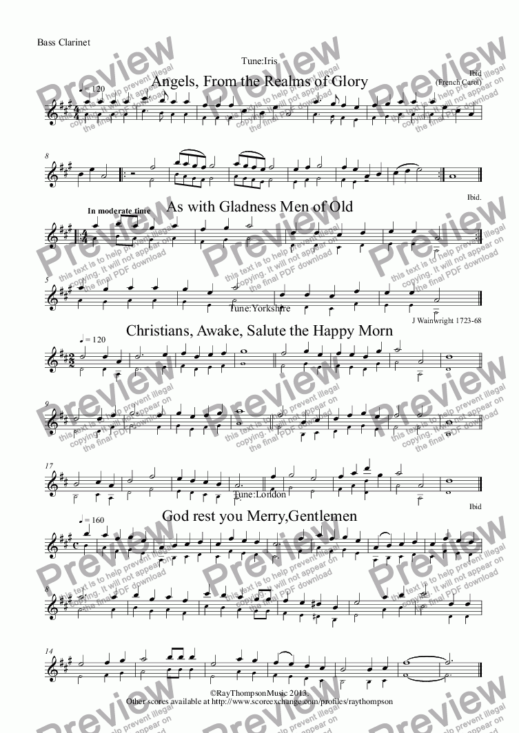 page one of the Bass Clarinet part from 10 Popular Christmas Carols for Flute Quartet  (3 flutes/bass flute) (alt.parts: alto flute/bass clarinet  for bass flute))