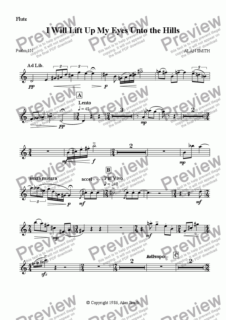 page one of the Flute part from I Will Lift Up My Eyes Unto the Hills