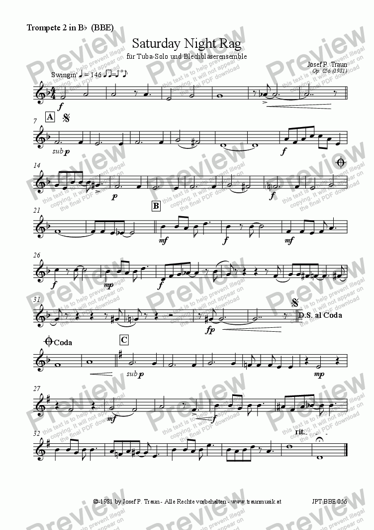 page one of the Trompete 2 part from Saturday Night Rag (BBE/Score & Parts)