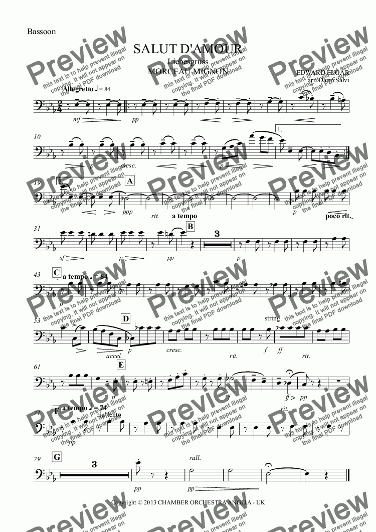page one of the Bassoon part from SALUT D'AMOUR