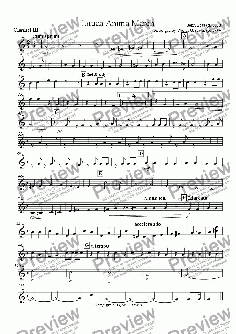 page one of the Clarinet 3 part from Lauda Anima March