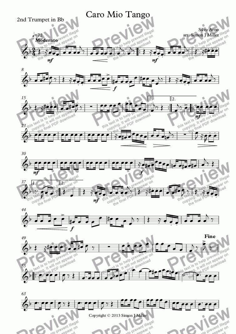 page one of the 2nd Trumpet in Bb part from Caro Mio Tango