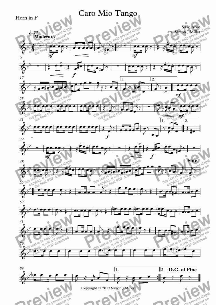 page one of the Horn in F part from Caro Mio Tango