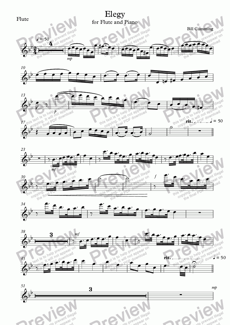 page one of the Flute part from Elegy for Flute and Piano