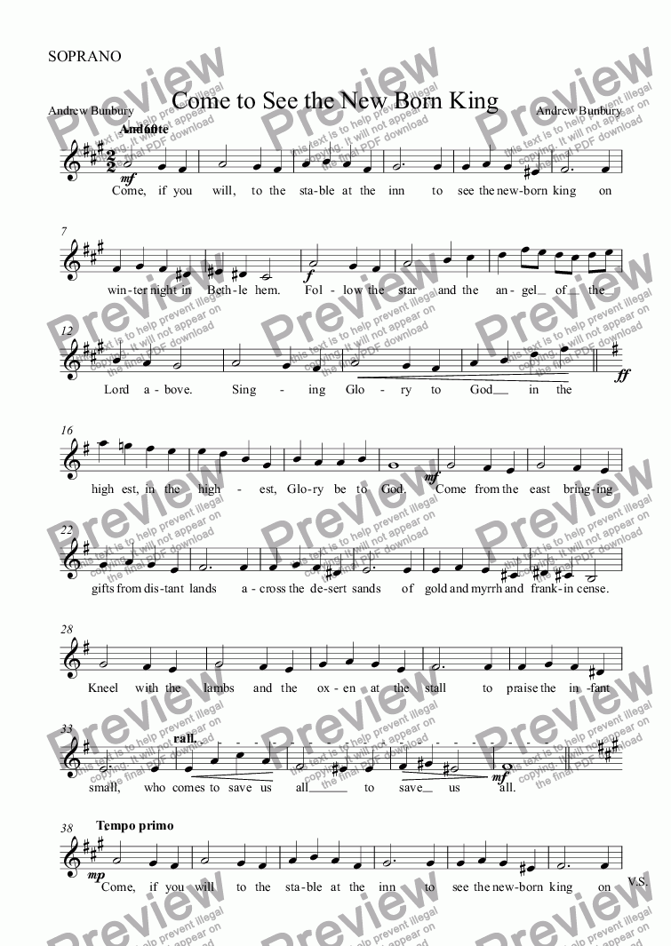 page one of the SOPRANO part from Come to See the New Born King