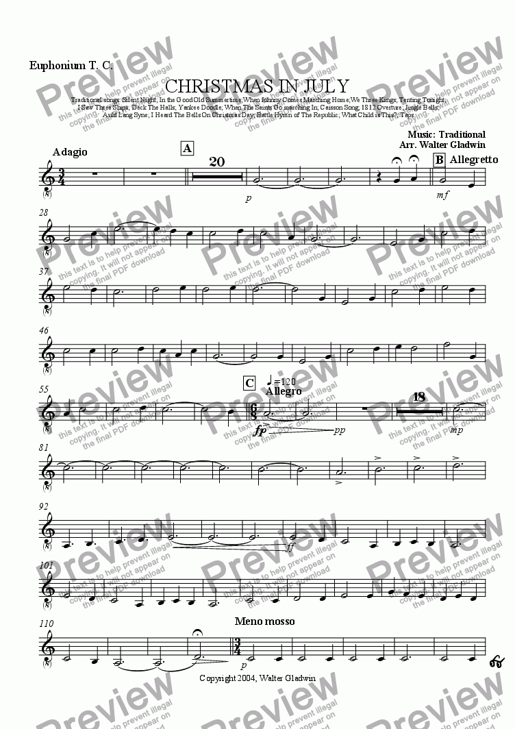 page one of the Euphonium T. C. part from Christmas In July