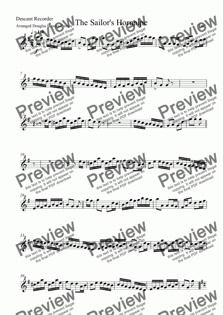 page one of the Descant Recorder part from Sailors' Hornpipes, Tom Bowling and Spanish Ladies for Recorder Quartet