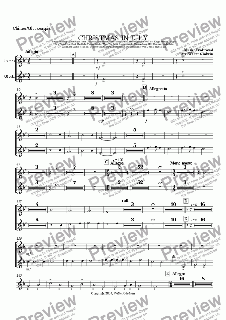 page one of the Chimes/Glockenspiel part from Christmas In July