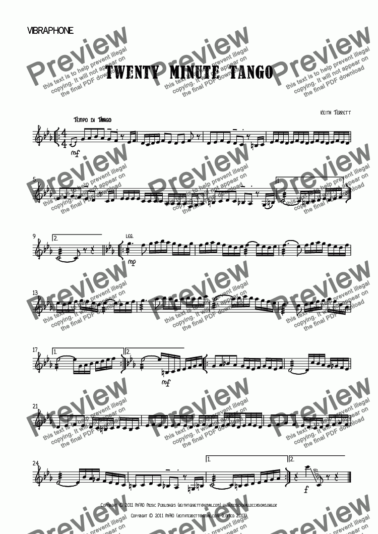 page one of the Vibraphone part from Twenty Minute Tango for Vibraphone & Piano.