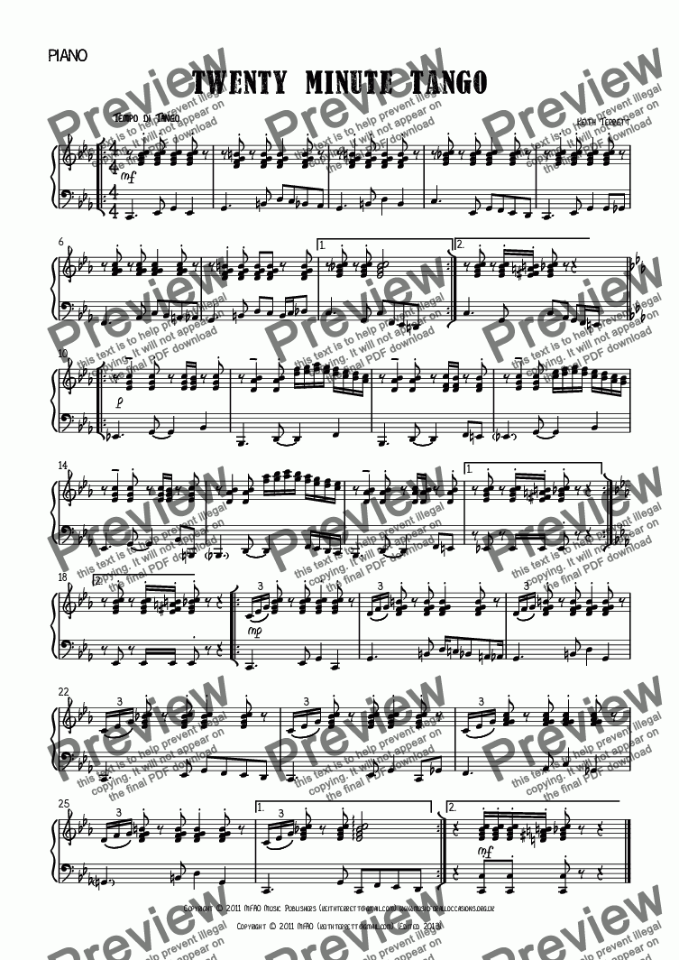 page one of the Piano part from Twenty Minute Tango for Vibraphone & Piano.