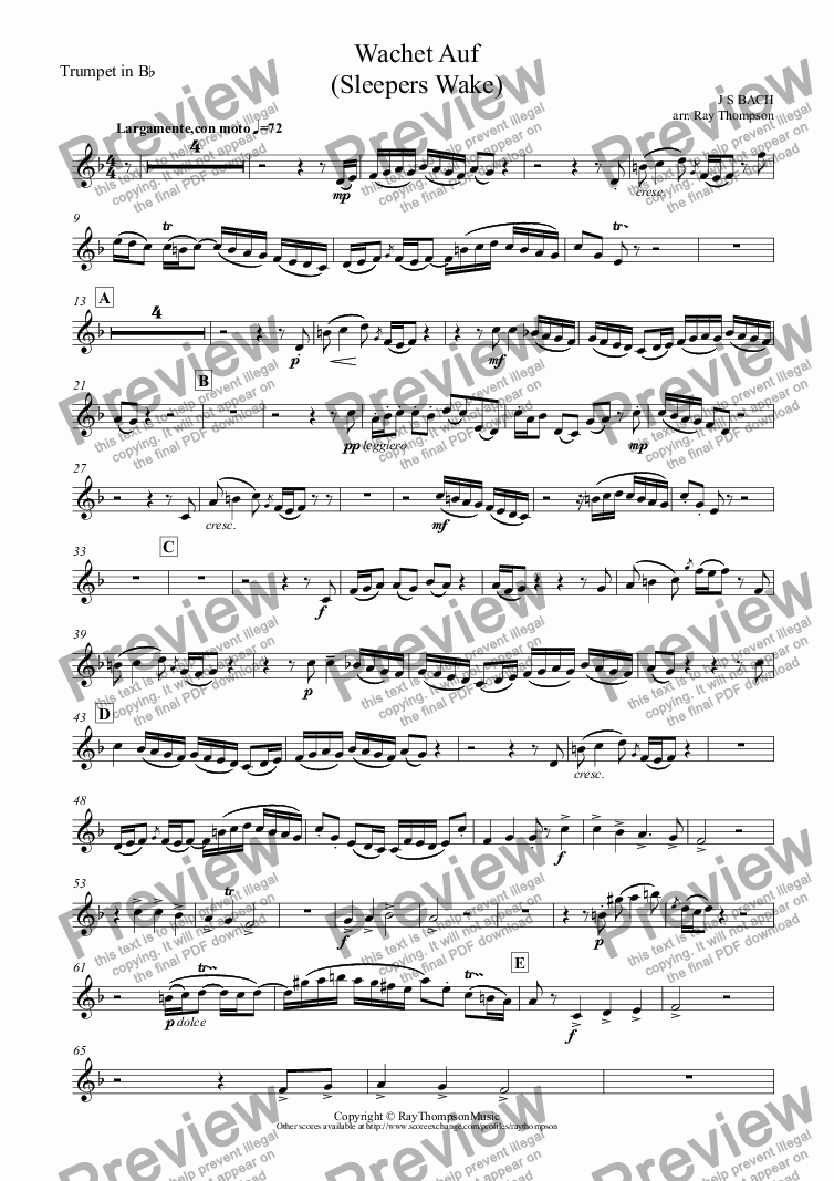 page one of the Trumpet in B^b part from Wachet Auf  (Sleepers Wake)