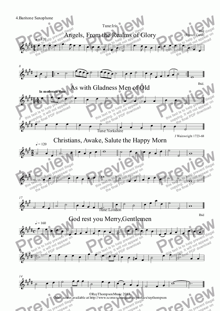 page one of the 4.Baritone Saxophone part from 10 Popular Christmas Carols for sax quartet