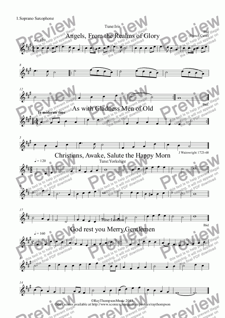 page one of the 1.Soprano Saxophone part from 10 Popular Christmas Carols for sax quartet
