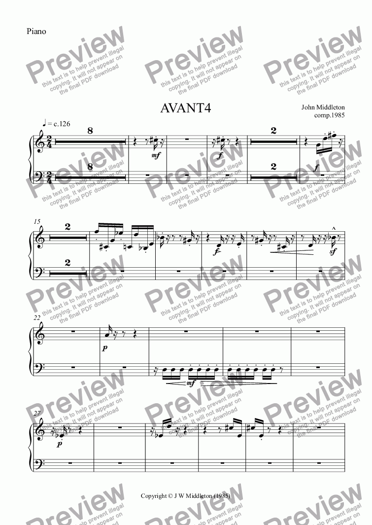 page one of the Piano part from Avant4