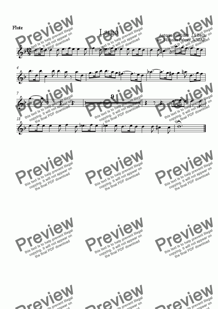 page one of the Flute part from Largo [piano quartet]
