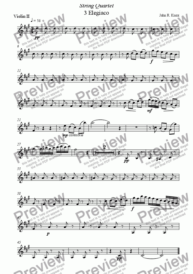 page one of the Violin 2 part from String Quartet 3rd movt.