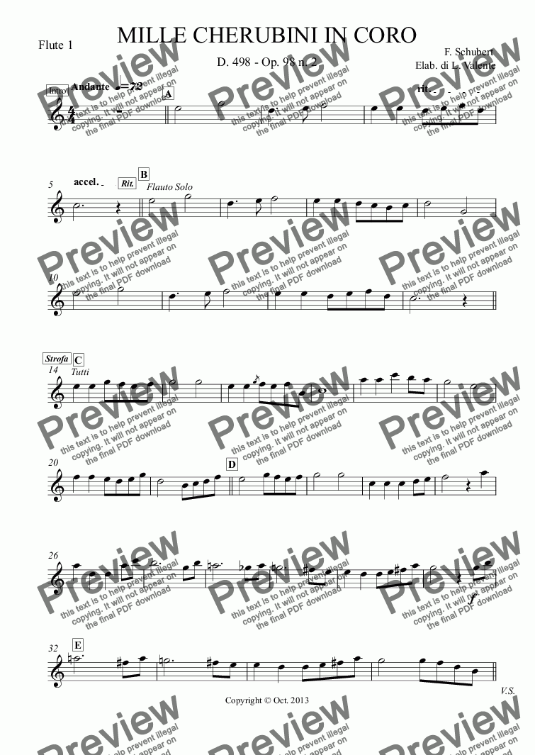 page one of the Flute 1 part from MILLE CHERUBINI IN CORO