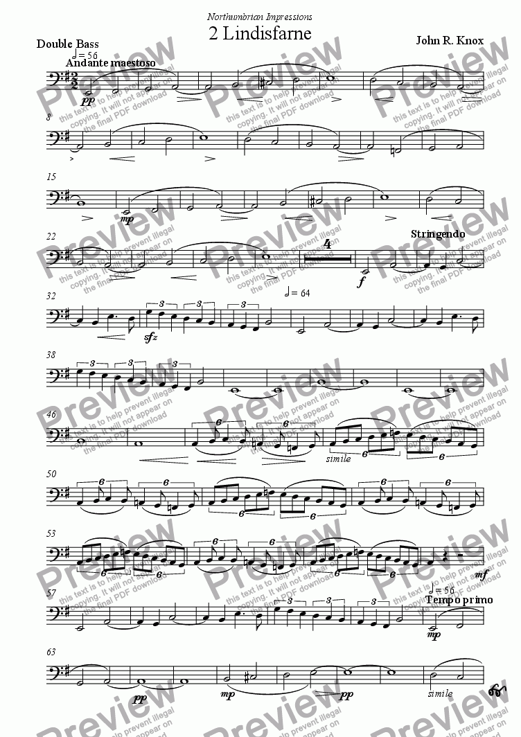 page one of the Double Bass part from Lindisfarne (Northumbrian Impressions No 2)