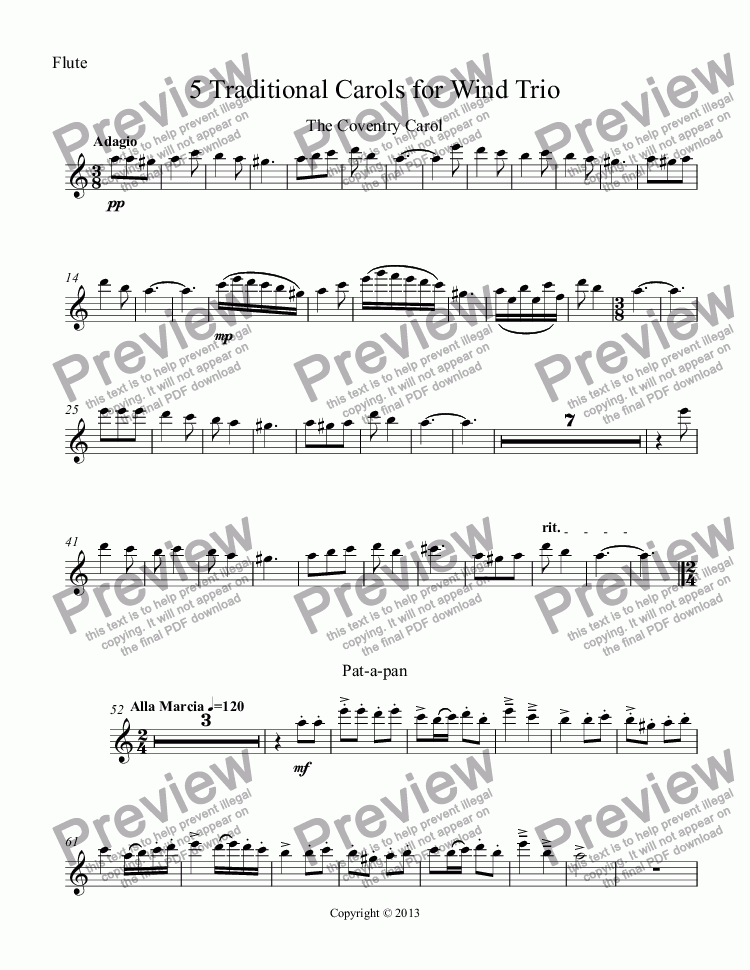 page one of the Flute part from 5 Traditional Carols for Wind Trio (Fl, Ob, Cl)