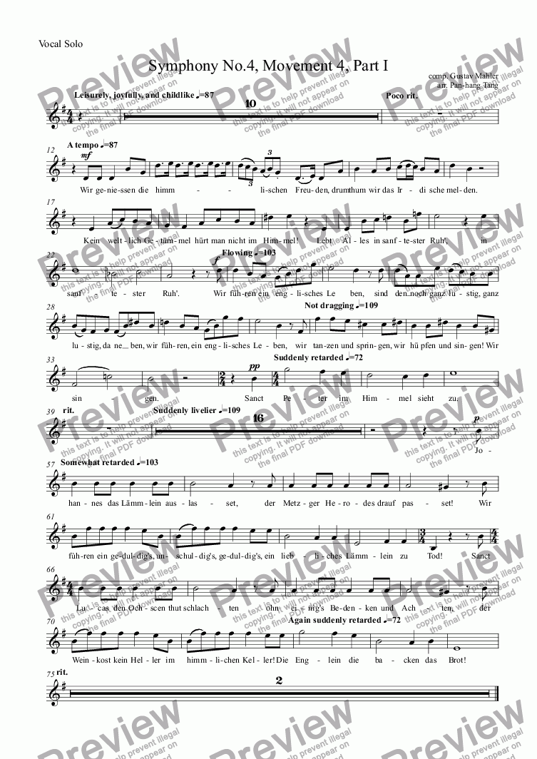 page one of the Vocal Solo part from Symphony No.4, Movement 4, Part I