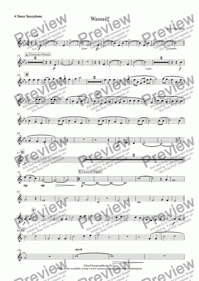 page one of the 4.Tenor Saxophone part from Wassail! (sax quintet) (Gloucester Wassail, Somerset Wassail and The Wassail Song.)