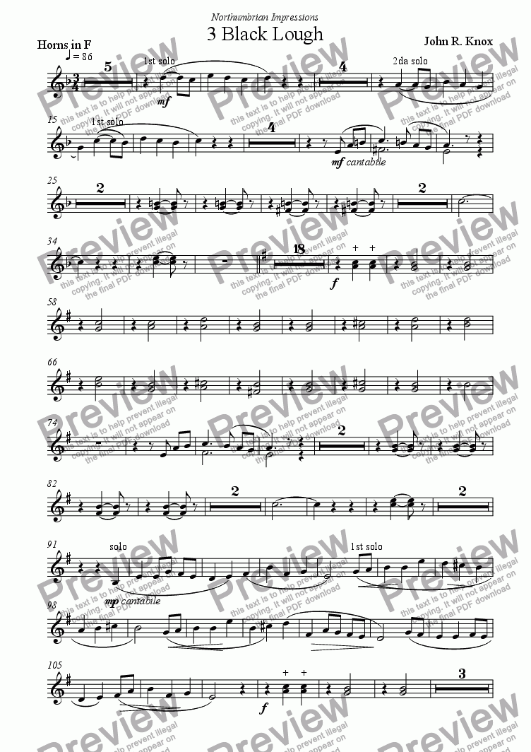 page one of the Horns F part from Black Lough (Northumbrian Impressions No 3)