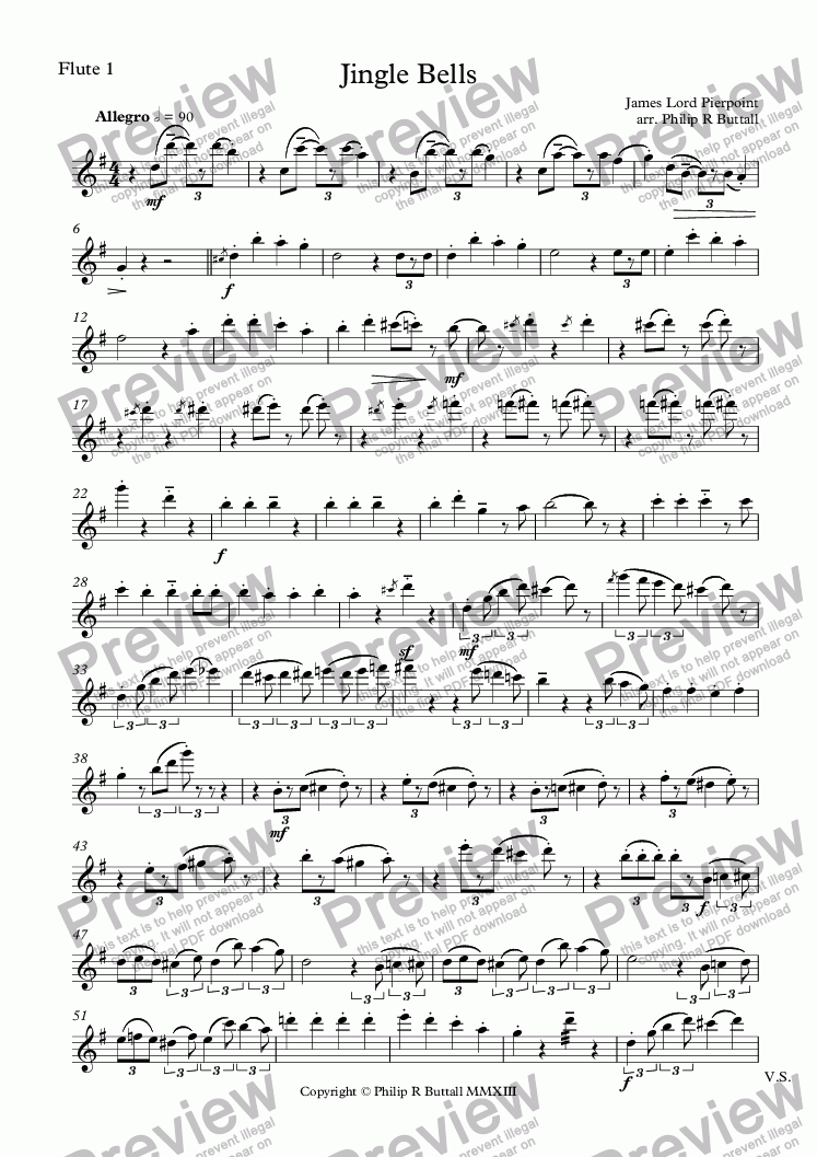 page one of the Flute 1 part from Jingle Bells (Flutes/Recorders & Piano)