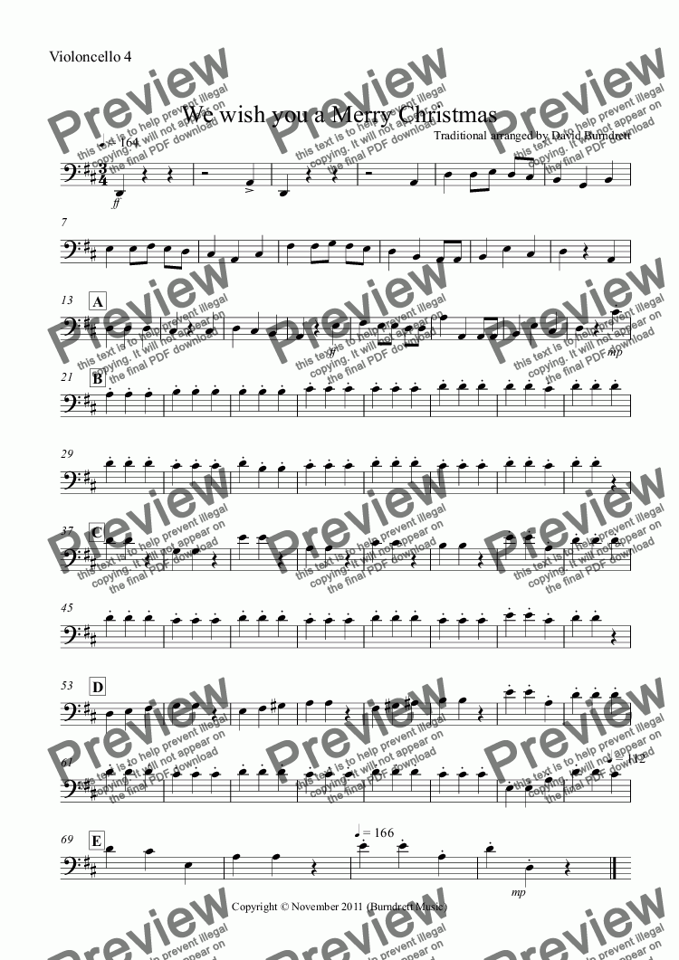 page one of the Violoncello 4 part from We wish you a Merry Christmas for Cello Quartet