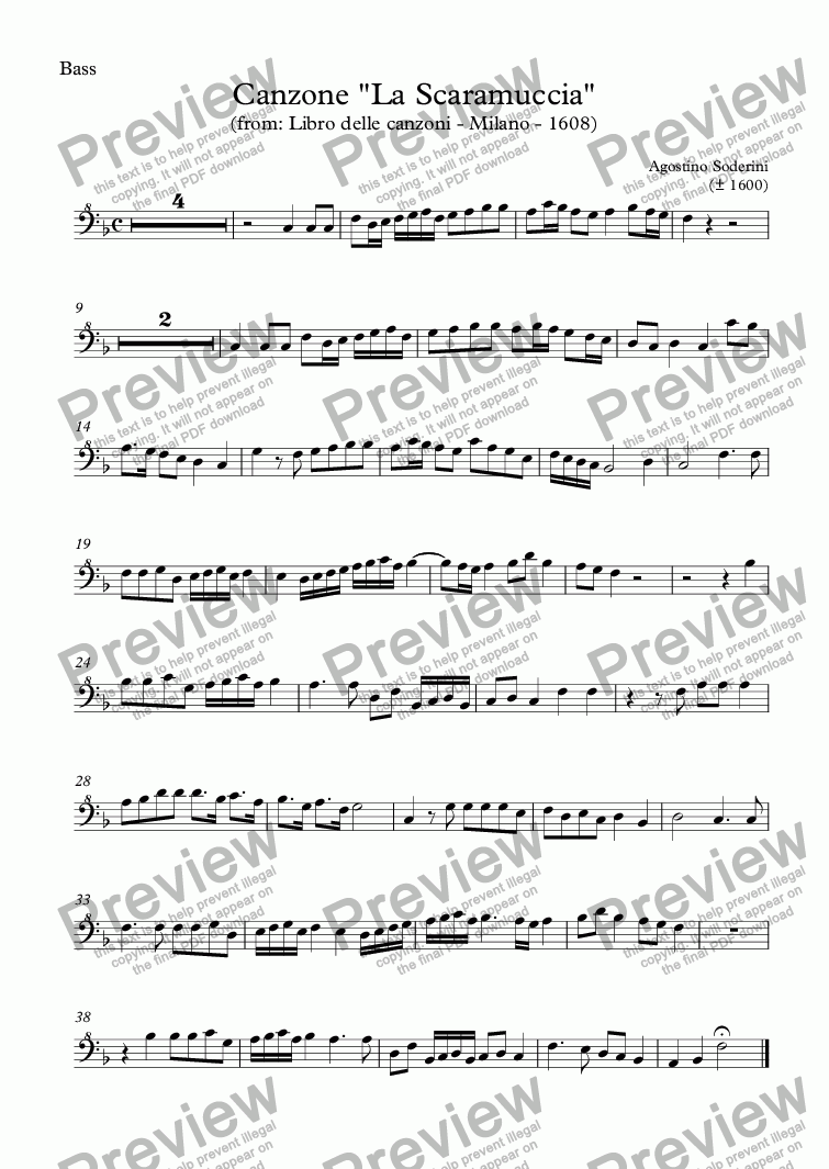 "page one of the Bass part from Canzone ""La Scaramuccia"" (Soderini)"