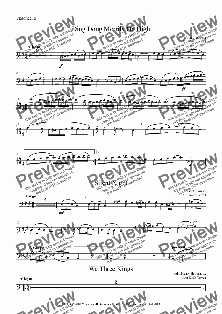 page one of the Violoncello part from Eight Christmas Carols for Cello & Keyboard