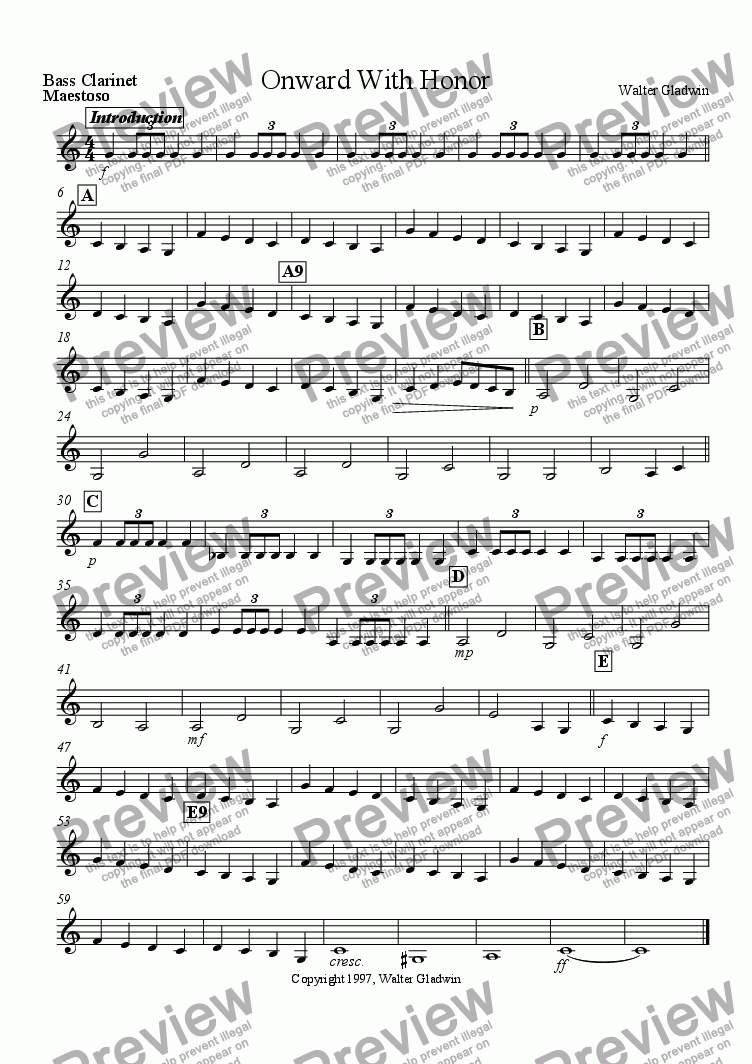 page one of the Bass Clarinet part from Onward With Honor