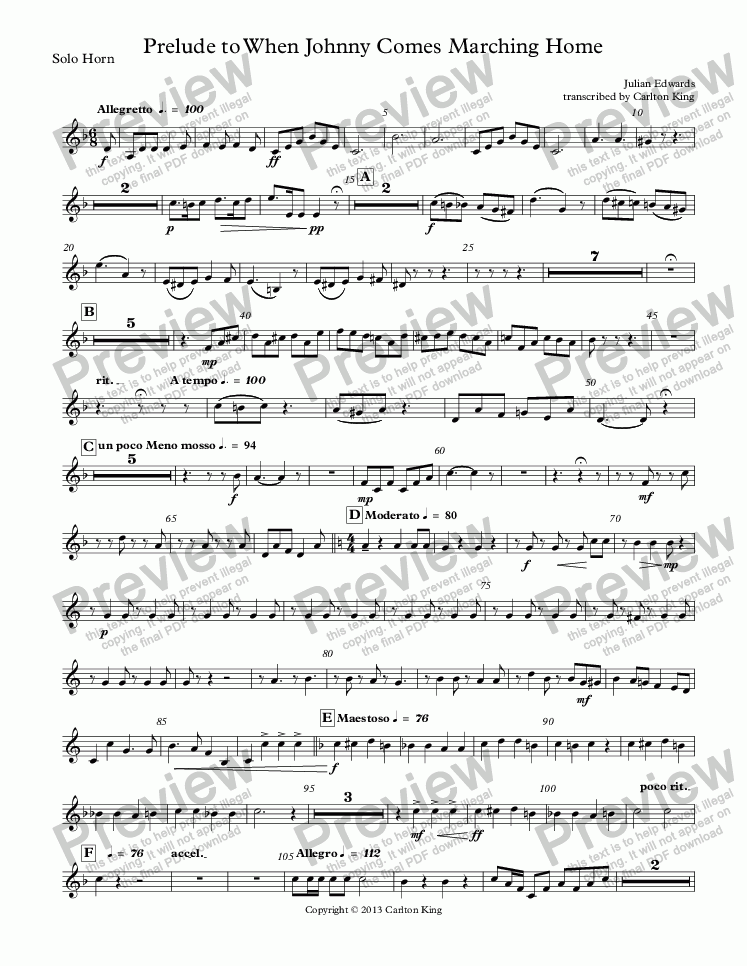 page one of the Solo Horn part from When Johnny Comes Marching Home - Prelude